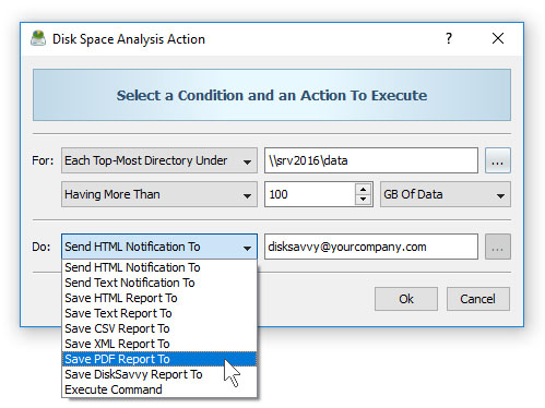 DiskSavvy Conditional Disk Space Analysis Action