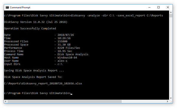 Disk Space Analysis Command Line Utility