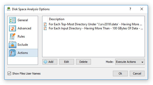 DiskSavvy Conditional Disk Space Analysis Actions