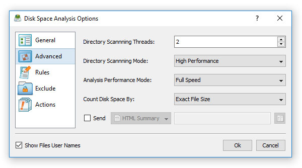 Advanced Disk Space Analysis Options