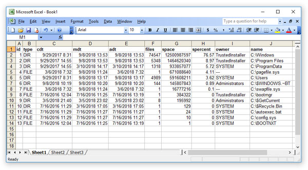 DiskSavvy Disk Space Analysis Results In Excel