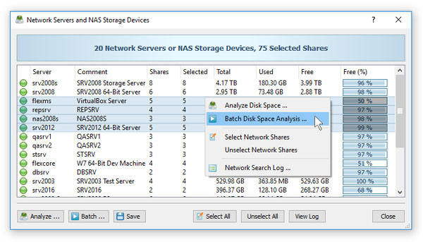 DiskSavvy Server Batch Disk Space Analysis