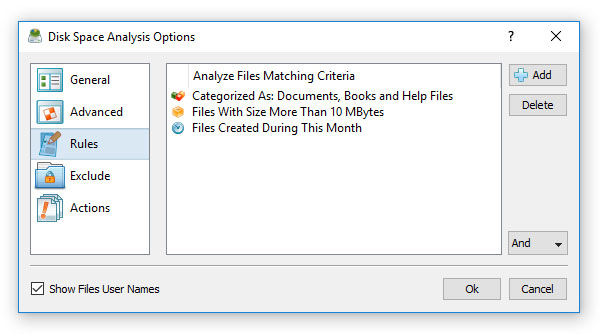 DiskSavvy Disk Space Analysis Rules