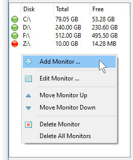 DiskSavvy Server Add Disk Space Monitor