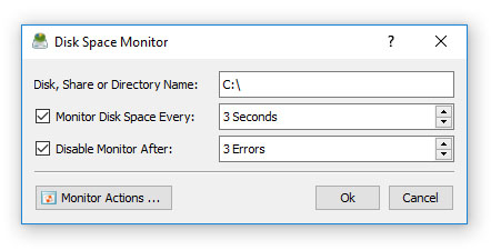 DiskSavvy Server Disk Space Monitor Dialog